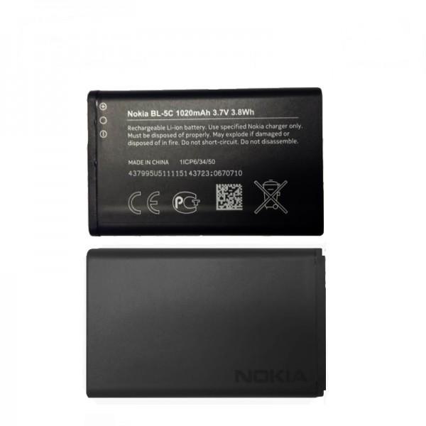 Akumuliatorius originalus Nokia 6230 / 1100 / 1110 / 1280 / 1600 / 1616 / 202 / 203 / 205 / 220 / 2310 / 2330C / 2600 / 2610 / 2700C / 2710 / 2730 / 3100 / 3110C / 5030 / 5130 / 6030 / 6230 / 6270 / E50 / E60 / N70 / N71 / N72 / C2-0 BL-5C 1020mAh
