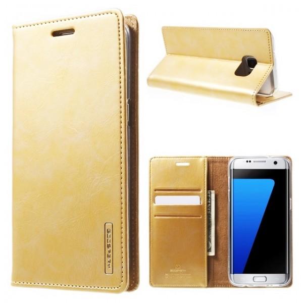 """Atverčiamas dėklas Samsung Galaxy S7 Edge G935F """"Blue Moon Flip"""" Auksinis"""