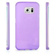 Permatomas violetinis, minkštas dėklas Samsung Galaxy S6 Edge