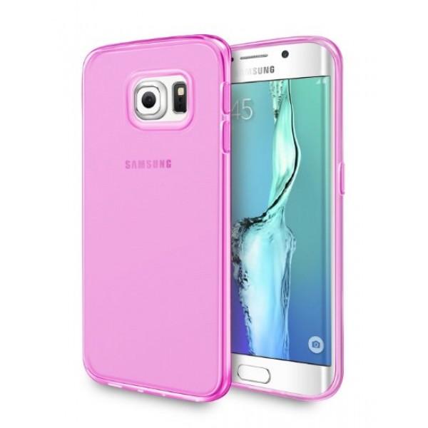 Permatomas ružavas, minkštas dėklas Samsung Galaxy S6 Edge