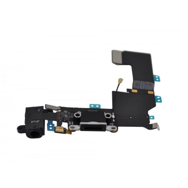 Originali Lanksčioji jungtis Apple iPhone 5S audio ir įkrovimo kontaktų, su mikrofonu Juoda