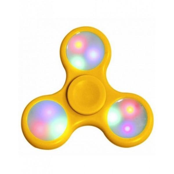 Fidget Spinner LED šviečiantis suktukas Geltonas